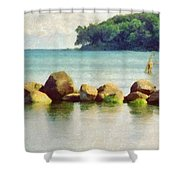 Danish Coast On The Rocks Shower Curtain