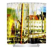 Danish Harbor Shower Curtain
