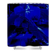 Dark Blue Leaves Shower Curtain
