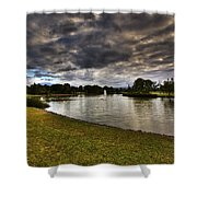 Dark Clouds Over Lake Shower Curtain