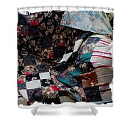 Dark Colored Blocks Patchwork Quilt  Shower Curtain