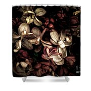 Dark Flowers Shower Curtain