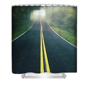Dark Foggy Country Road Shower Curtain