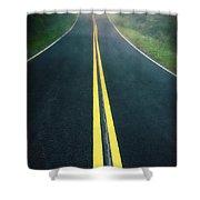 Dark Foggy Country Road Shower Curtain by Edward Fielding