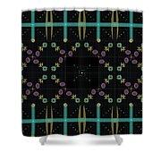 Dark Grid Quilt Shower Curtain