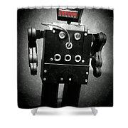 Dark Metal Robot Oil Shower Curtain