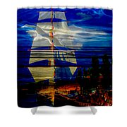 Dark Moonlight With Sails And Seagull Shower Curtain