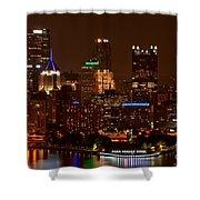 Dark Pittsburgh Skyline Shower Curtain