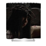 Dark Portrait Of A Female Jesus Shower Curtain