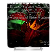 Dark Red Day Lily And Quote Shower Curtain