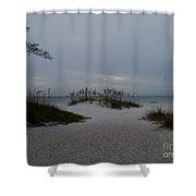Dark Skies Over The Beach Shower Curtain