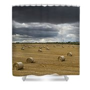 Dark Storm Clouds Over A Field With Hay Shower Curtain