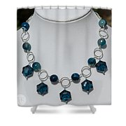 Dark Turquoise Crystal And Faceted Agate Necklace 3676 Shower Curtain