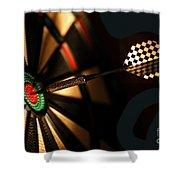Dart Board In Bar Shower Curtain