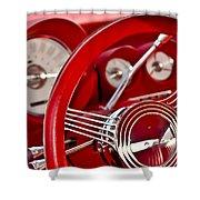 Dashboard Red Classic Car Shower Curtain