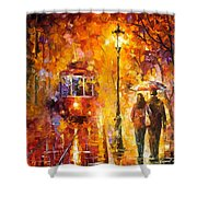 Date By The Trolley - Palette Knife Oil Painting On Canvas By Leonid Afremov Shower Curtain
