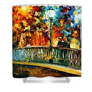 Date On The Bridge - Palette Knife Oil Painting On Canvas By Leonid Afremov Shower Curtain