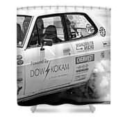 Datsun Smoking Tires Shower Curtain