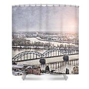 Daugava Railway Bridge Shower Curtain