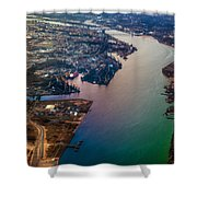 Daugawa River. Riga. Latvia. Rainbow Earth Shower Curtain