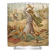 David About To Slay Goliath Shower Curtain by John Lawson