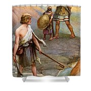 David And Goliath Shower Curtain by Arthur A Dixon