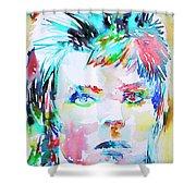 David Bowie - Watercolor Portrait.6 Shower Curtain