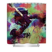 David Ortiz Abstract Shower Curtain