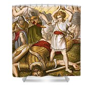 David Slaying Goliath Shower Curtain