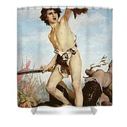 David Victorious Over Goliath Shower Curtain