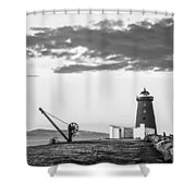 Davit And Lighthouse On A Breakwater Shower Curtain
