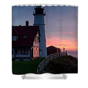 Dawn At Portland Lighthouse Shower Curtain
