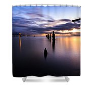 Dawn Breaks Over The Pier Shower Curtain