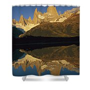 Dawn Fitzroy Massif Reflection Patagonia Shower Curtain