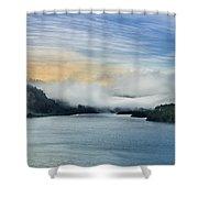 Dawn Fog On Klamath River Shower Curtain