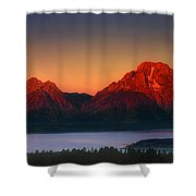 Dawn Light On The Tetons Grant Tetons National Park Wyoming Shower Curtain