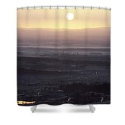 Dawn Over Belfort Town Shower Curtain