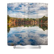 Dawn Reflection Of Fall Colors Shower Curtain