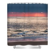 Dawns Red Sky Reflected Shower Curtain