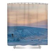 Dawson City Ice Bridge Shower Curtain by Priska Wettstein