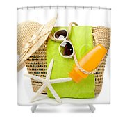 Day At The Beach Shower Curtain by Amanda Elwell