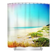 Day At The Beach Photography Light Leaks Shower Curtain