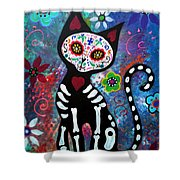 Day Of The Dead Cat Shower Curtain