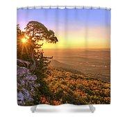 Daybreak On Mt. Magazine - Arkansas - Cedar Tree - Autumn Shower Curtain