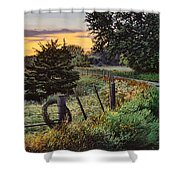 Daybreak Southwest Corner Fenceline Shower Curtain