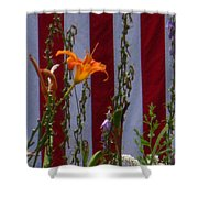 Daylily And Old Glory Shower Curtain
