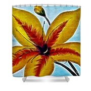 Daylily Expressive  Brushstrokes Shower Curtain