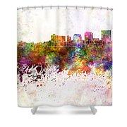 Dayton Skyline In Watercolor Background Shower Curtain