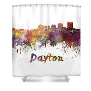 Dayton Skyline In Watercolor Shower Curtain