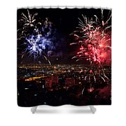Dazzling Fireworks II Shower Curtain by Ray Warren